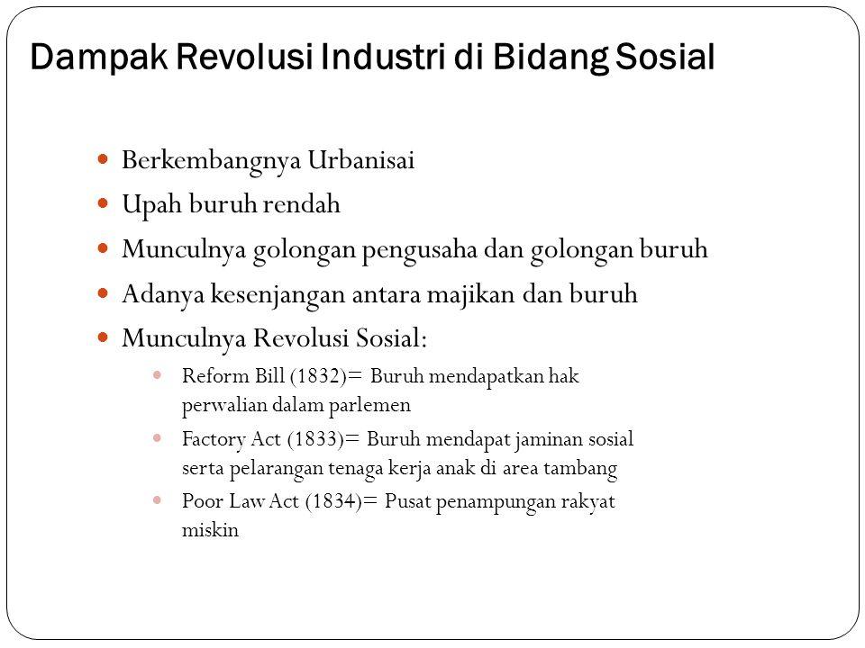 Dampak Revolusi Industri di Bidang Sosial Berkembangnya Urbanisai Upah buruh rendah Munculnya golongan pengusaha dan golongan buruh Adanya kesenjangan