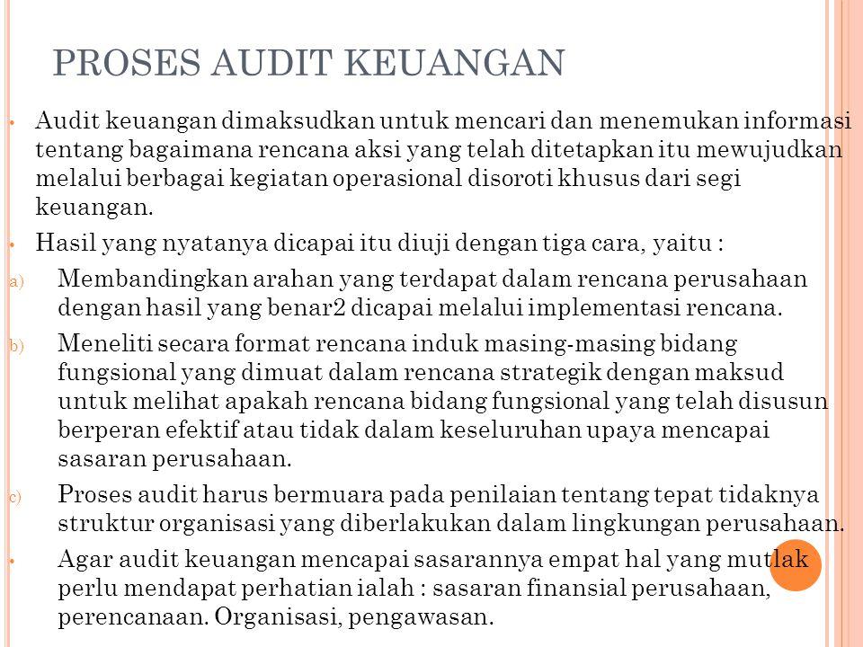 PROSES AUDIT KEUANGAN Audit keuangan dimaksudkan untuk mencari dan menemukan informasi tentang bagaimana rencana aksi yang telah ditetapkan itu mewujudkan melalui berbagai kegiatan operasional disoroti khusus dari segi keuangan.