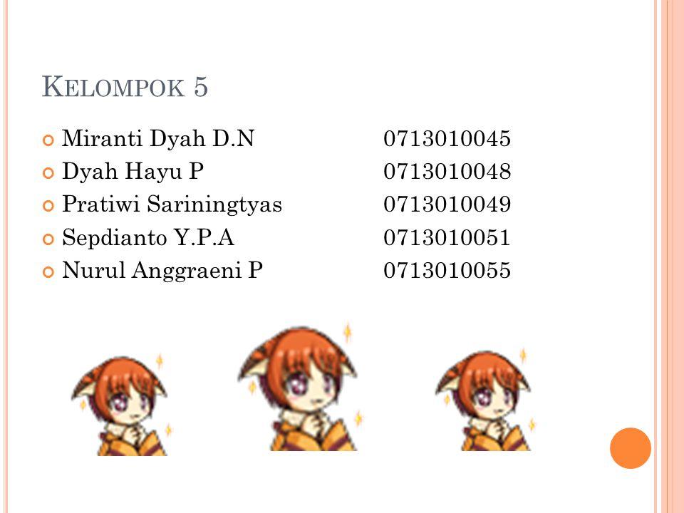 K ELOMPOK 5 Miranti Dyah D.N0713010045 Dyah Hayu P0713010048 Pratiwi Sariningtyas0713010049 Sepdianto Y.P.A0713010051 Nurul Anggraeni P0713010055
