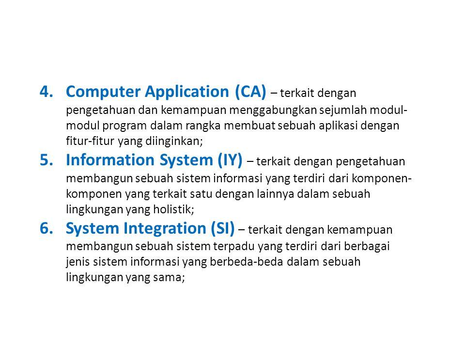 4.Computer Application (CA) – terkait dengan pengetahuan dan kemampuan menggabungkan sejumlah modul- modul program dalam rangka membuat sebuah aplikasi dengan fitur-fitur yang diinginkan; 5.Information System (IY) – terkait dengan pengetahuan membangun sebuah sistem informasi yang terdiri dari komponen- komponen yang terkait satu dengan lainnya dalam sebuah lingkungan yang holistik; 6.System Integration (SI) – terkait dengan kemampuan membangun sebuah sistem terpadu yang terdiri dari berbagai jenis sistem informasi yang berbeda-beda dalam sebuah lingkungan yang sama;