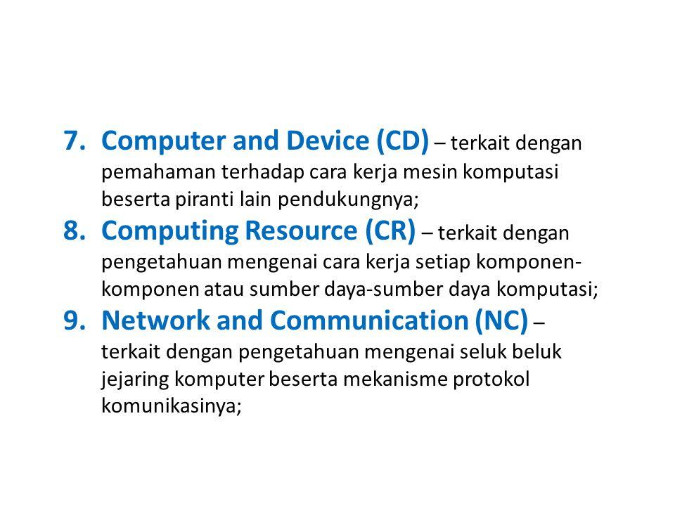 7.Computer and Device (CD) – terkait dengan pemahaman terhadap cara kerja mesin komputasi beserta piranti lain pendukungnya; 8.Computing Resource (CR) – terkait dengan pengetahuan mengenai cara kerja setiap komponen- komponen atau sumber daya-sumber daya komputasi; 9.Network and Communication (NC) – terkait dengan pengetahuan mengenai seluk beluk jejaring komputer beserta mekanisme protokol komunikasinya;