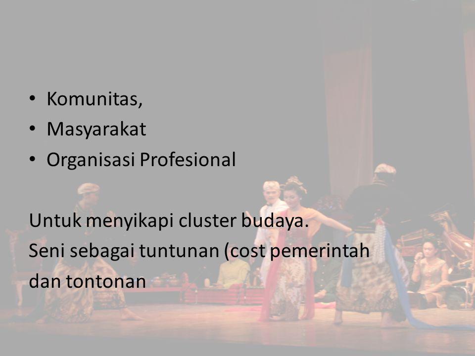 Komunitas, Masyarakat Organisasi Profesional Untuk menyikapi cluster budaya. Seni sebagai tuntunan (cost pemerintah dan tontonan