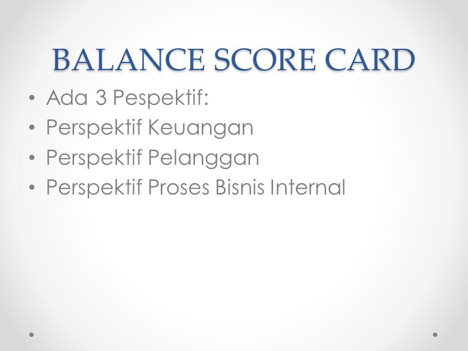BALANCE SCORE CARD Ada 3 Pespektif: Perspektif Keuangan Perspektif Pelanggan Perspektif Proses Bisnis Internal