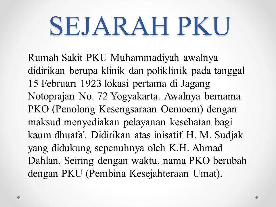 SEJARAH PKU R umah Sakit PKU Muhammadiyah awalnya didirikan berupa klinik dan poliklinik pada tanggal 15 Februari 1923 lokasi pertama di Jagang Notopr