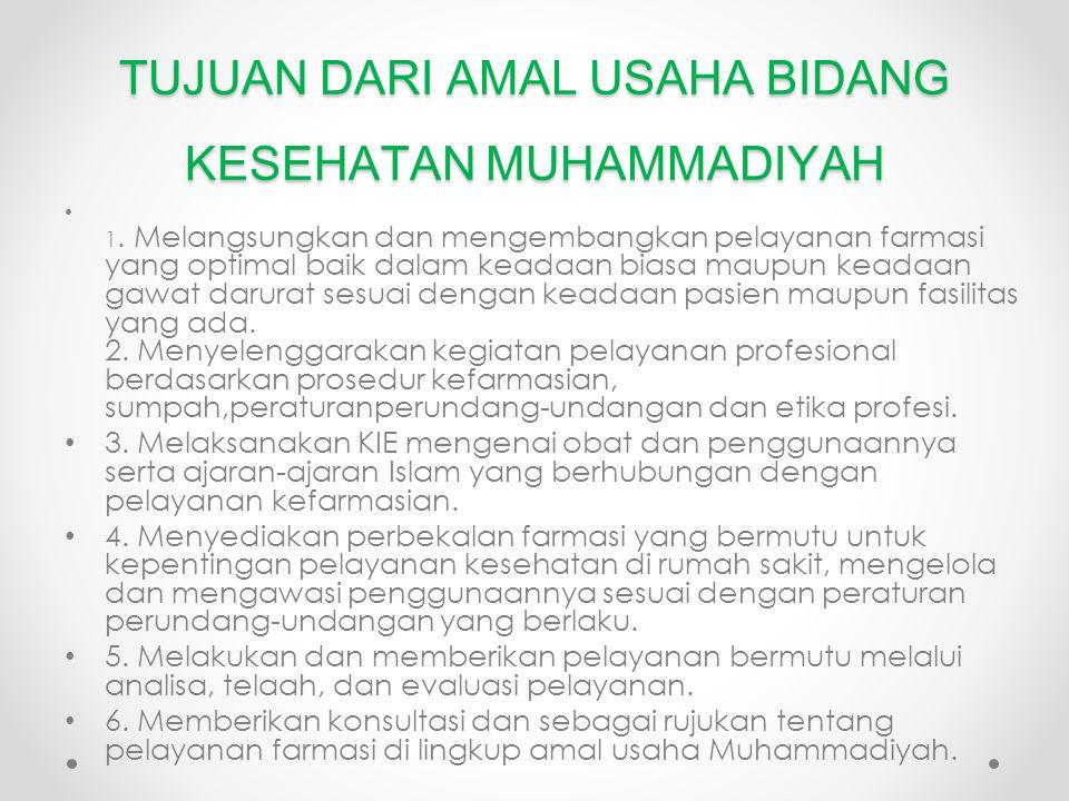 TUJUAN DARI AMAL USAHA BIDANG KESEHATAN MUHAMMADIYAH 1.