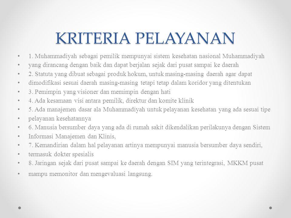 KRITERIA PELAYANAN 1.