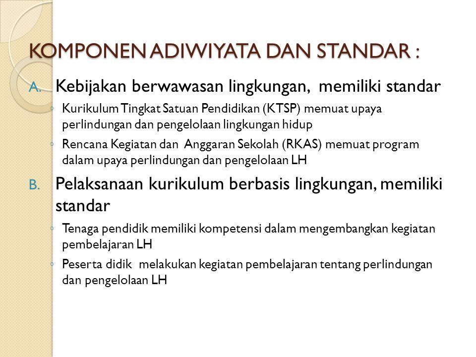 KOMPONEN ADIWIYATA DAN STANDAR : A. Kebijakan berwawasan lingkungan, memiliki standar ◦ Kurikulum Tingkat Satuan Pendidikan (KTSP) memuat upaya perlin