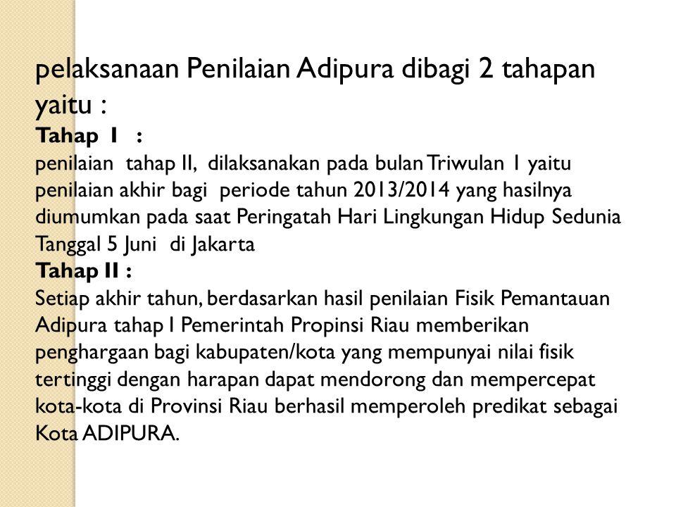 pelaksanaan Penilaian Adipura dibagi 2 tahapan yaitu : Tahap I : penilaian tahap II, dilaksanakan pada bulan Triwulan 1 yaitu penilaian akhir bagi per