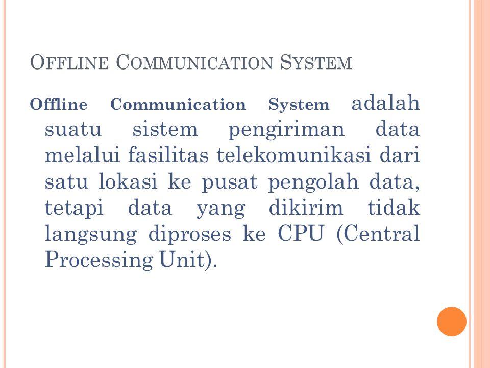 K OMUNIKASI D ATA O FF -L INE TerminalModem Sistem Komputer Terminal Modem