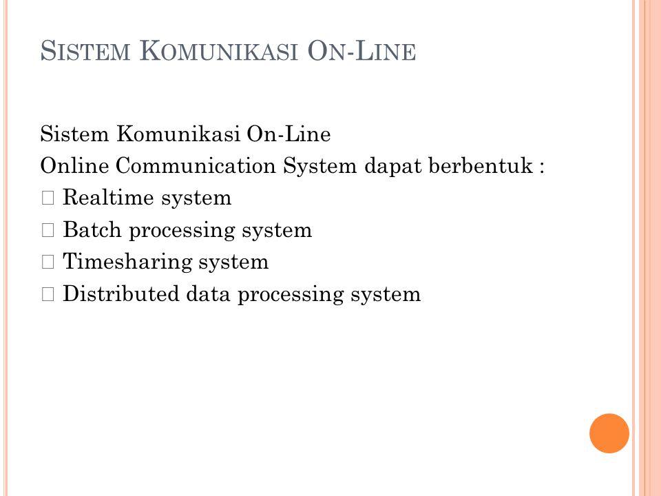 K OMUNIKASI D ATA O N -L INE Terminal Modem Sistem Komputer