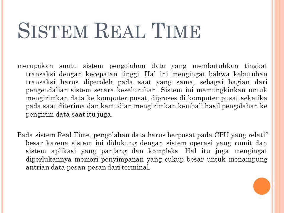 S ISTEM K OMUNIKASI O N -L INE Sistem Komunikasi On-Line Online Communication System dapat berbentuk :  Realtime system  Batch processing system  Timesharing system  Distributed data processing system