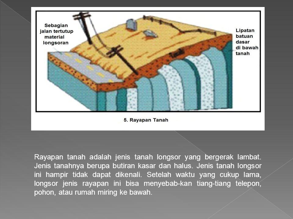 Rayapan tanah adalah jenis tanah longsor yang bergerak lambat. Jenis tanahnya berupa butiran kasar dan halus. Jenis tanah longsor ini hampir tidak dap