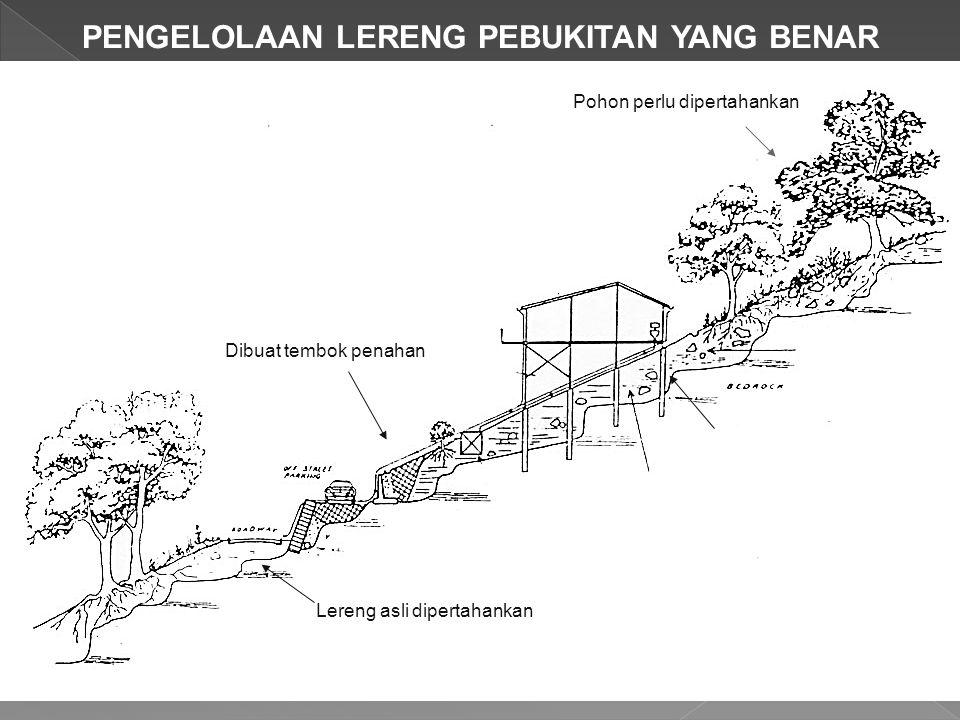 PENGELOLAAN LERENG PEBUKITAN YANG BENAR Pohon perlu dipertahankan Pondasi sumuran/pile Dibuat tembok penahan Lereng asli dipertahankan