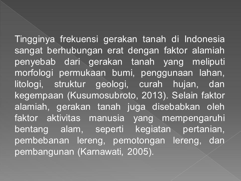 Tingginya frekuensi gerakan tanah di Indonesia sangat berhubungan erat dengan faktor alamiah penyebab dari gerakan tanah yang meliputi morfologi permu