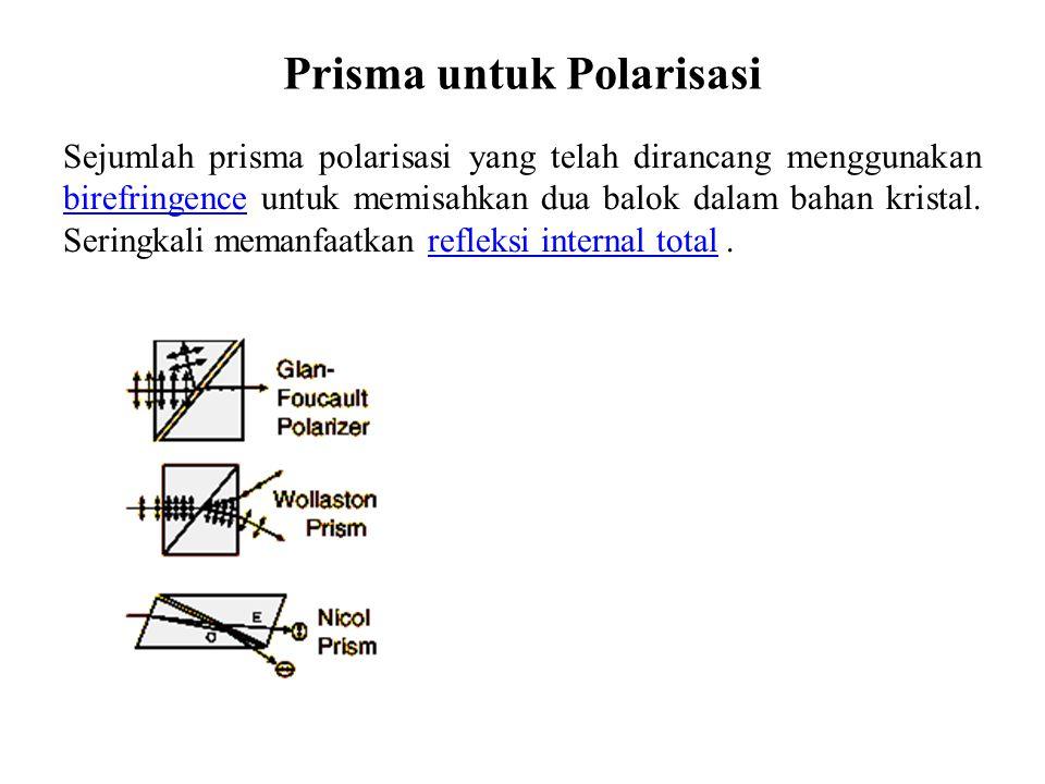 Prisma Nicol PolarisasiPolarisasi dapat dicapai dengan bahan kristal yang memiliki indeks bias berbeda di bidang kristal yang berbeda.