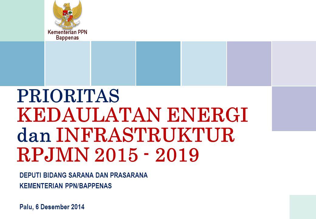 PRIORITAS KEDAULATAN ENERGI dan INFRASTRUKTUR RPJMN 2015 - 2019 DEPUTI BIDANG SARANA DAN PRASARANA KEMENTERIAN PPN/BAPPENAS Palu, 6 Desember 2014 Kementerian PPN Bappenas