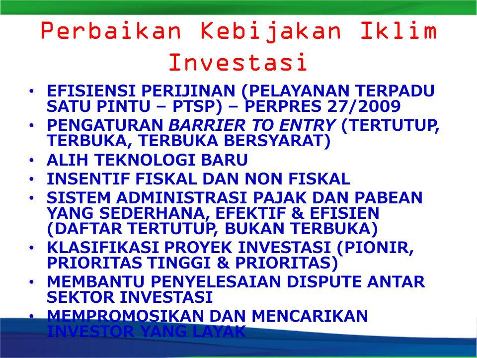 Perbaikan Kebijakan Iklim Investasi EFISIENSI PERIJINAN (PELAYANAN TERPADU SATU PINTU – PTSP) – PERPRES 27/2009 PENGATURAN BARRIER TO ENTRY (TERTUTUP, TERBUKA, TERBUKA BERSYARAT) ALIH TEKNOLOGI BARU INSENTIF FISKAL DAN NON FISKAL SISTEM ADMINISTRASI PAJAK DAN PABEAN YANG SEDERHANA, EFEKTIF & EFISIEN (DAFTAR TERTUTUP, BUKAN TERBUKA) KLASIFIKASI PROYEK INVESTASI (PIONIR, PRIORITAS TINGGI & PRIORITAS) MEMBANTU PENYELESAIAN DISPUTE ANTAR SEKTOR INVESTASI MEMPROMOSIKAN DAN MENCARIKAN INVESTOR YANG LAYAK