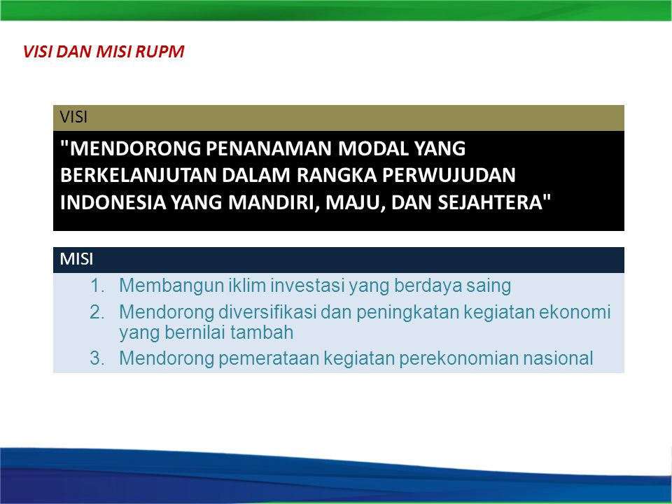 MENDORONG PENANAMAN MODAL YANG BERKELANJUTAN DALAM RANGKA PERWUJUDAN INDONESIA YANG MANDIRI, MAJU, DAN SEJAHTERA VISI 1.Membangun iklim investasi yang berdaya saing 2.Mendorong diversifikasi dan peningkatan kegiatan ekonomi yang bernilai tambah 3.Mendorong pemerataan kegiatan perekonomian nasional MISI VISI DAN MISI RUPM