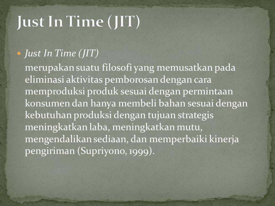 Just In Time (JIT) merupakan suatu filosofi yang memusatkan pada eliminasi aktivitas pemborosan dengan cara memproduksi produk sesuai dengan permintaa