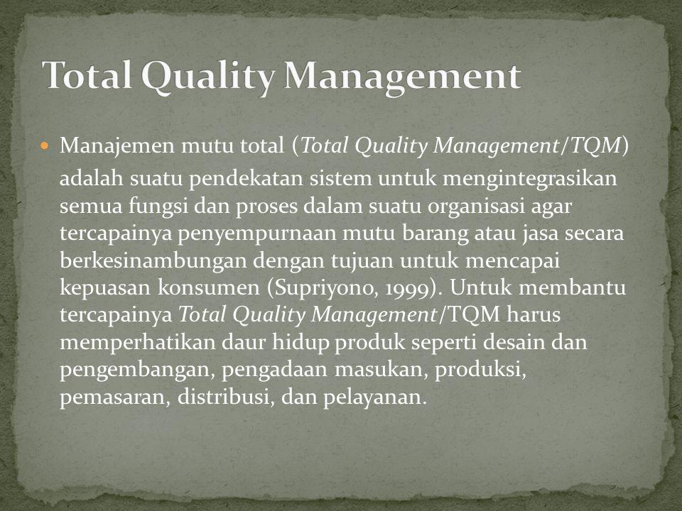 Manajemen mutu total (Total Quality Management/TQM) adalah suatu pendekatan sistem untuk mengintegrasikan semua fungsi dan proses dalam suatu organisa