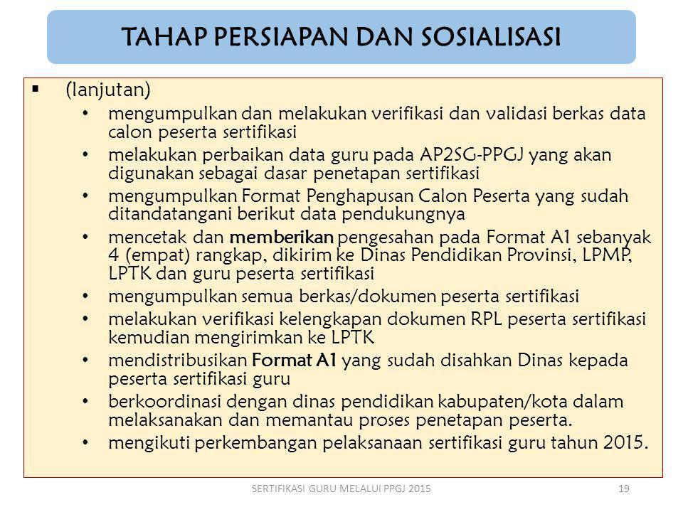 TAHAP PERSIAPAN DAN SOSIALISASI  (lanjutan) mengumpulkan dan melakukan verifikasi dan validasi berkas data calon peserta sertifikasi melakukan perbai