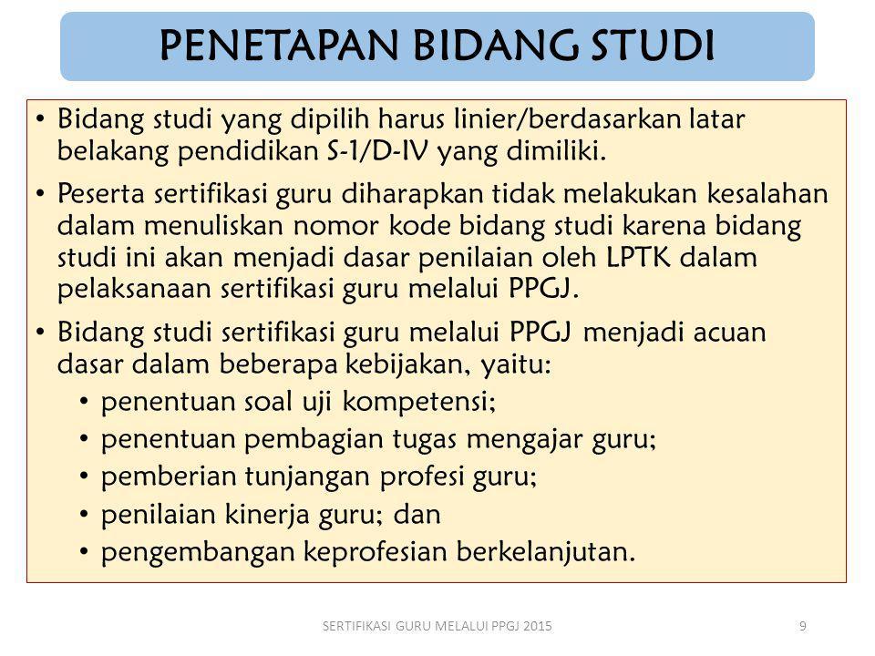 PENETAPAN BIDANG STUDI Bidang studi yang dipilih harus linier/berdasarkan latar belakang pendidikan S-1/D-IV yang dimiliki. Peserta sertifikasi guru d