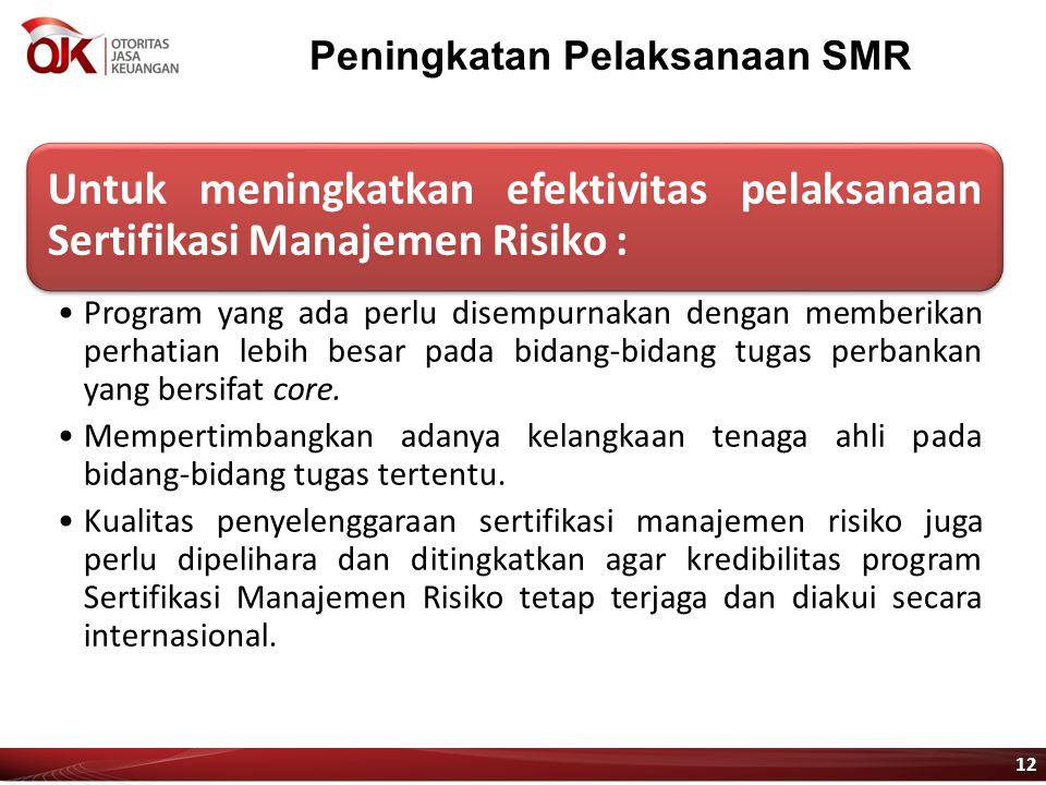 Peningkatan Pelaksanaan SMR Untuk meningkatkan efektivitas pelaksanaan Sertifikasi Manajemen Risiko : Program yang ada perlu disempurnakan dengan memb