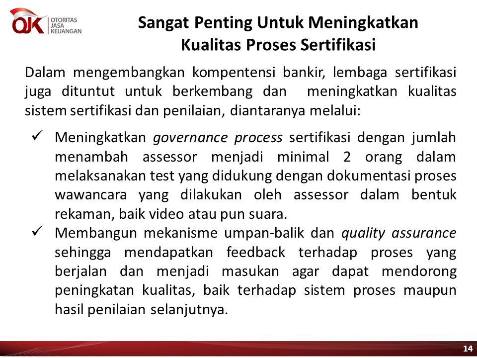 Sangat Penting Untuk Meningkatkan Kualitas Proses Sertifikasi Dalam mengembangkan kompentensi bankir, lembaga sertifikasi juga dituntut untuk berkemba