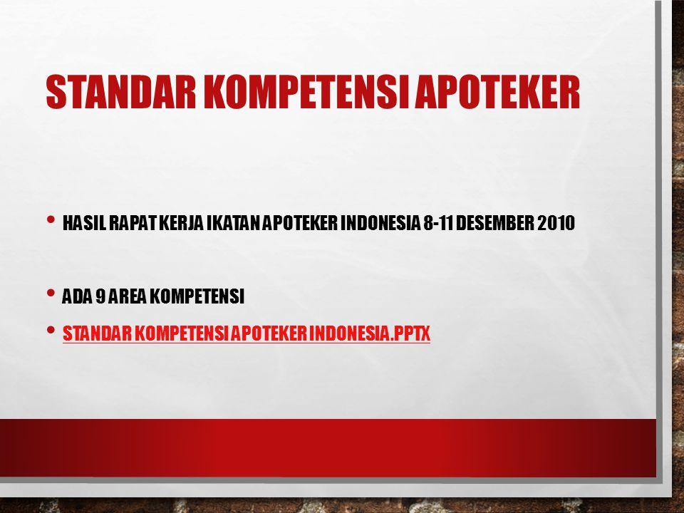 STANDAR KOMPETENSI APOTEKER HASIL RAPAT KERJA IKATAN APOTEKER INDONESIA 8-11 DESEMBER 2010 ADA 9 AREA KOMPETENSI STANDAR KOMPETENSI APOTEKER INDONESIA