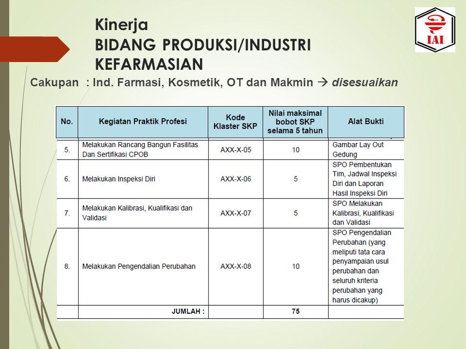 Kinerja BIDANG PRODUKSI/INDUSTRI KEFARMASIAN Cakupan : Ind. Farmasi, Kosmetik, OT dan Makmin  disesuaikan
