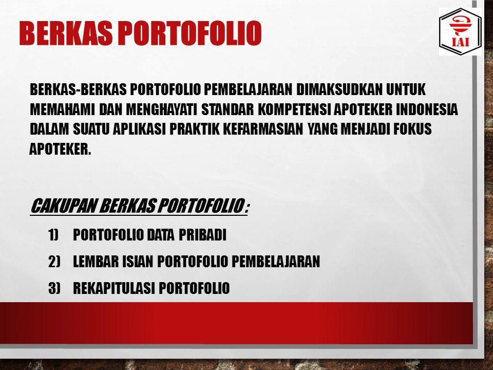 BERKAS PORTOFOLIO BERKAS-BERKAS PORTOFOLIO PEMBELAJARAN DIMAKSUDKAN UNTUK MEMAHAMI DAN MENGHAYATI STANDAR KOMPETENSI APOTEKER INDONESIA DALAM SUATU AP