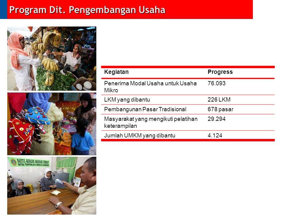 Program Dit. Pengembangan Usaha KegiatanProgress Penerima Modal Usaha untuk Usaha Mikro 76.093 LKM yang dibantu226 LKM Pembangunan Pasar Tradisional67