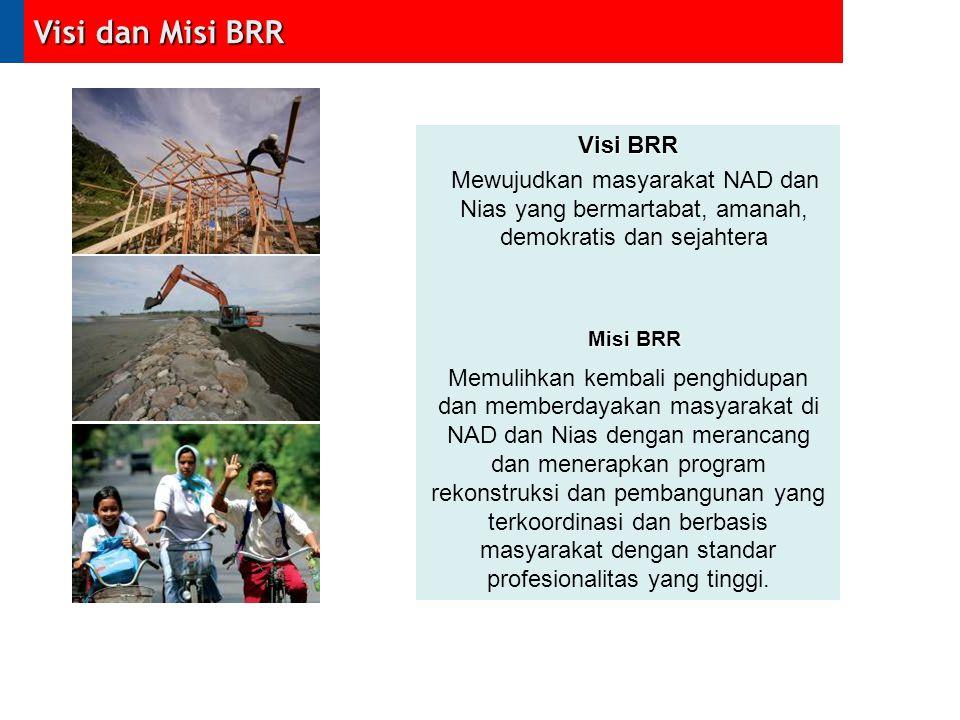 1.Mengembalikan dan membangun kehidupan ekonomi masyarakat Aceh dan Nias yang lebih baik melalui penurunan angka kemiskinan dan pengangguran serta peningkatan pertumbuhan ekonomi 2.Mendorong terciptanya basis-basis ekonomi berdasarkan keunggulan komparatif dan investasi kemitraan yang kondusif 3.Mendorong sumber daya manusia lokal untuk mampu menjadi pelaku aktif dalam membangun kehidupan ekonomi yang lebih baik 4.Mendorong terciptanya lembaga ekonomi masyarakat yang professional, efektif, transparan dan akuntabel 5.Menciptakan pembangunan ekonomi yang berkelanjutan melalui pemanfaatan sumber daya alam dan ruang secara efisien dan optimal 6.Mengembalikan industri kecil dan menengah unggulan yang mampu bersaing di pasar global Kedeputian Ekonomi dan Usaha BRR Misi