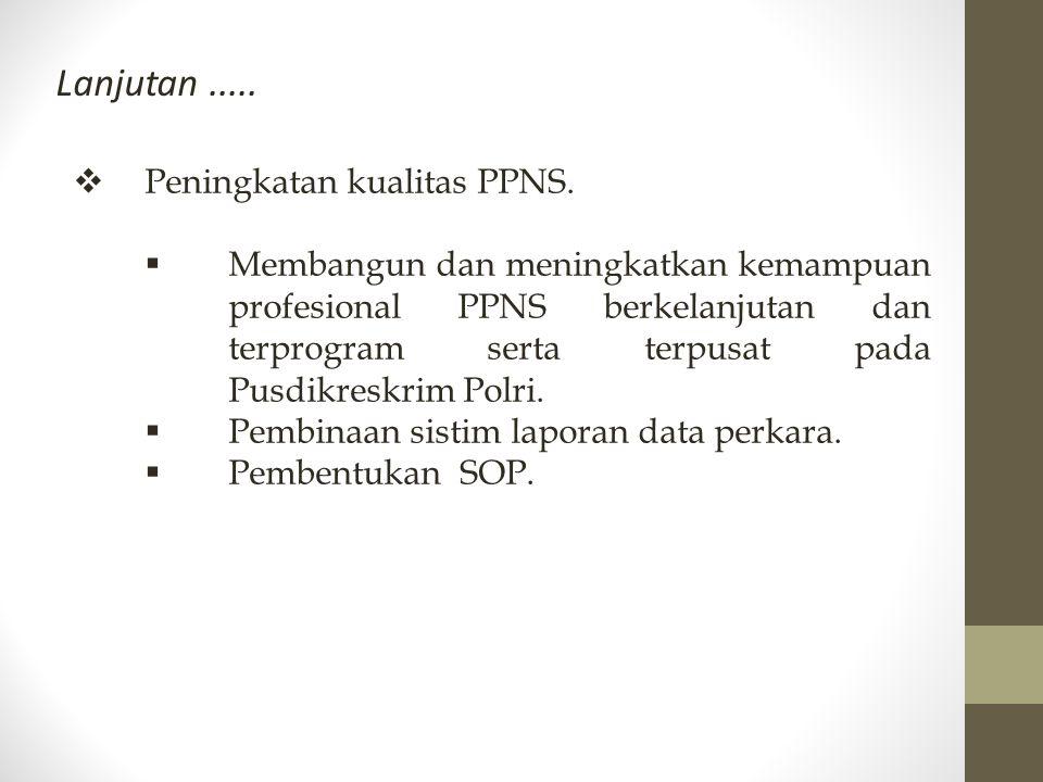 Lanjutan.....  Peningkatan kualitas PPNS.  Membangun dan meningkatkan kemampuan profesional PPNS berkelanjutan dan terprogram serta terpusat pada Pu