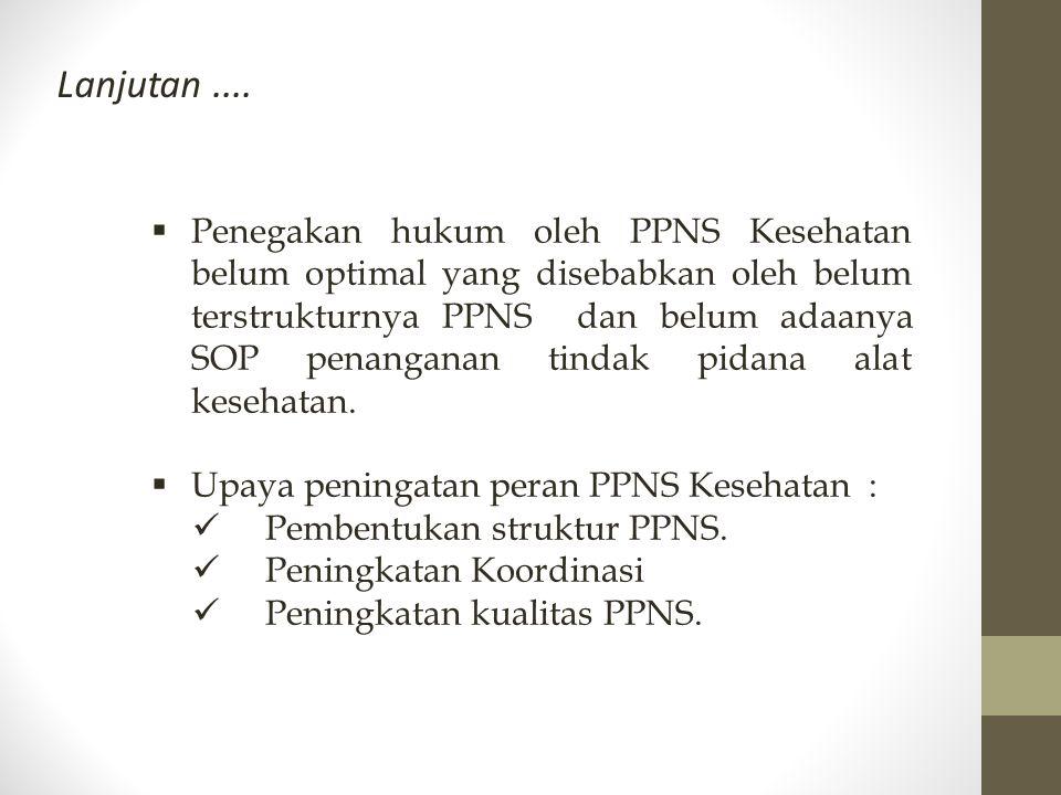  Penegakan hukum oleh PPNS Kesehatan belum optimal yang disebabkan oleh belum terstrukturnya PPNS dan belum adaanya SOP penanganan tindak pidana alat