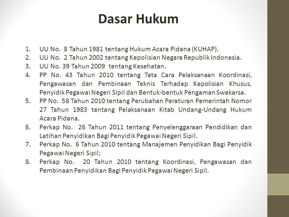 Dasar Hukum 1.UU No. 8 Tahun 1981 tentang Hukum Acara Pidana (KUHAP). 2.UU No. 2 Tahun 2002 tentang Kepolisian Negara Republik Indonesia. 3.UU No. 39