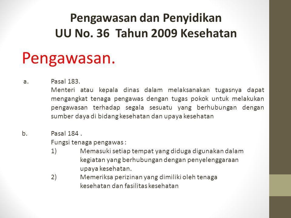 Pengawasan dan Penyidikan UU No. 36 Tahun 2009 Kesehatan Pengawasan. a.Pasal 183. Menteri atau kepala dinas dalam melaksanakan tugasnya dapat mengangk