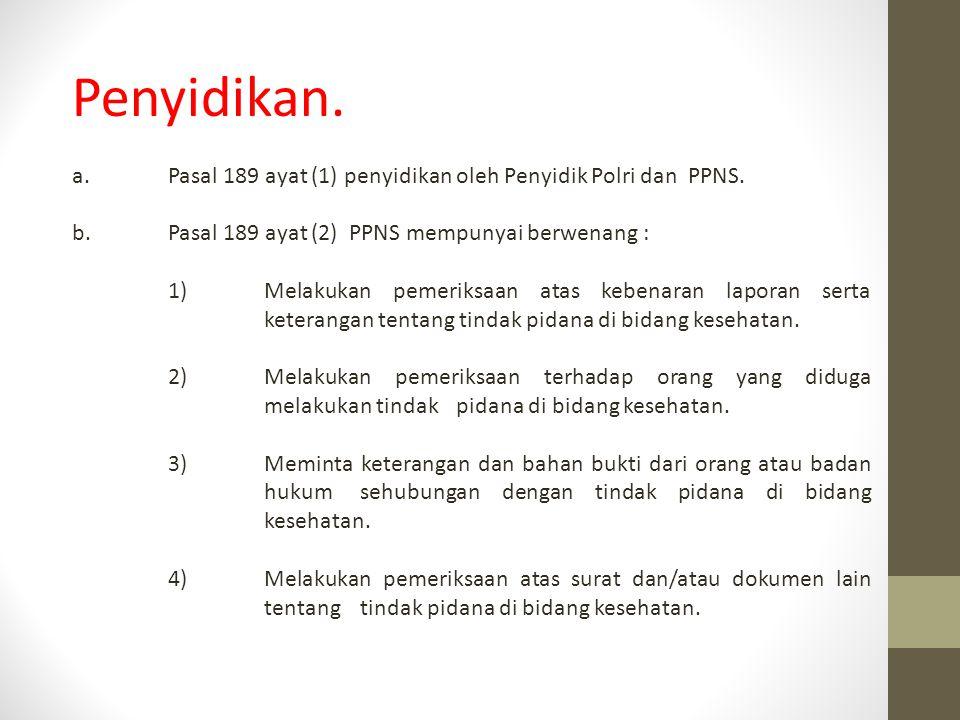 Penyidikan. a.Pasal 189 ayat (1) penyidikan oleh Penyidik Polri dan PPNS. b.Pasal 189 ayat (2) PPNS mempunyai berwenang : 1)Melakukan pemeriksaan atas