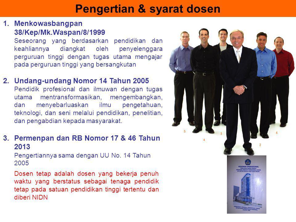 Pengertian & syarat dosen 1.Menkowasbangpan 38/Kep/Mk.Waspan/8/1999 Seseorang yang berdasarkan pendidikan dan keahliannya diangkat oleh penyelenggara
