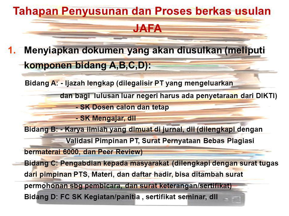 Tahapan Penyusunan dan Proses berkas usulan JAFA 1.Menyiapkan dokumen yang akan diusulkan (meliputi komponen bidang A,B,C,D): Bidang A: - Ijazah lengk