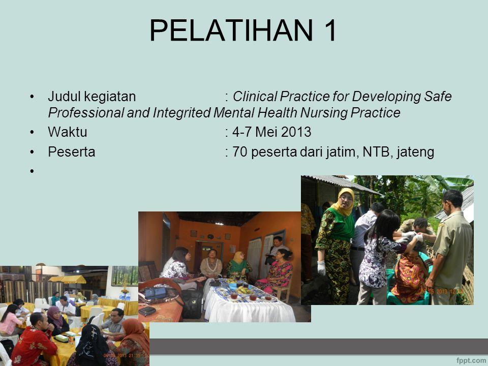PELATIHAN 1 Judul kegiatan: Clinical Practice for Developing Safe Professional and Integrited Mental Health Nursing Practice Waktu: 4-7 Mei 2013 Peser