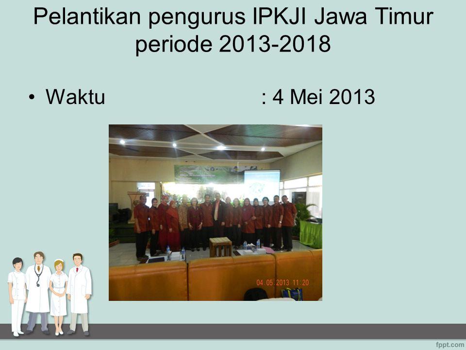 PELATIHAN 2 Judul kegiatan: Peningkatan Pengetahuan Kader Tentang Kesehatan Jiwa Di Jombang bekerja sama dengan Dinkes Propinsi Jawa Timur Waktu: 22 –24 April 2013 Peserta: 5 tim yang terdiri dari kader dan petugas kesehatan dari puskesmas dan dinas kesehatan yang berasal dari 5 kabupaten