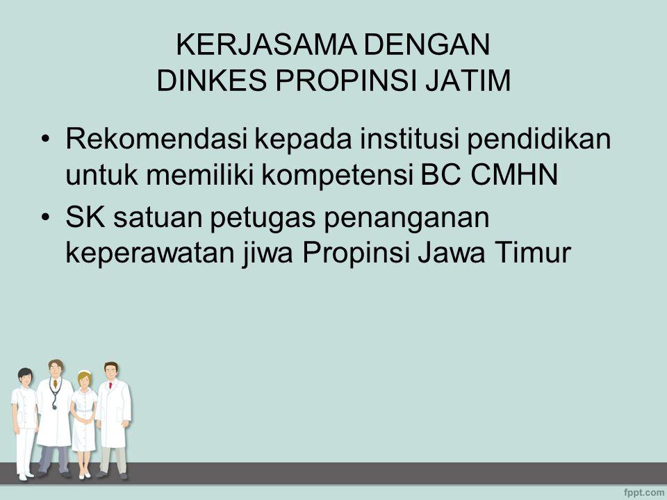 KERJASAMA DENGAN DINKES PROPINSI JATIM Rekomendasi kepada institusi pendidikan untuk memiliki kompetensi BC CMHN SK satuan petugas penanganan keperawa