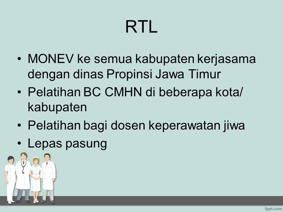RTL MONEV ke semua kabupaten kerjasama dengan dinas Propinsi Jawa Timur Pelatihan BC CMHN di beberapa kota/ kabupaten Pelatihan bagi dosen keperawatan