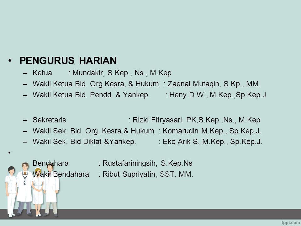 PENGURUS HARIAN –Ketua : Mundakir, S.Kep., Ns., M.Kep –Wakil Ketua Bid. Org.Kesra, & Hukum : Zaenal Mutaqin, S.Kp., MM. –Wakil Ketua Bid. Pendd. & Yan
