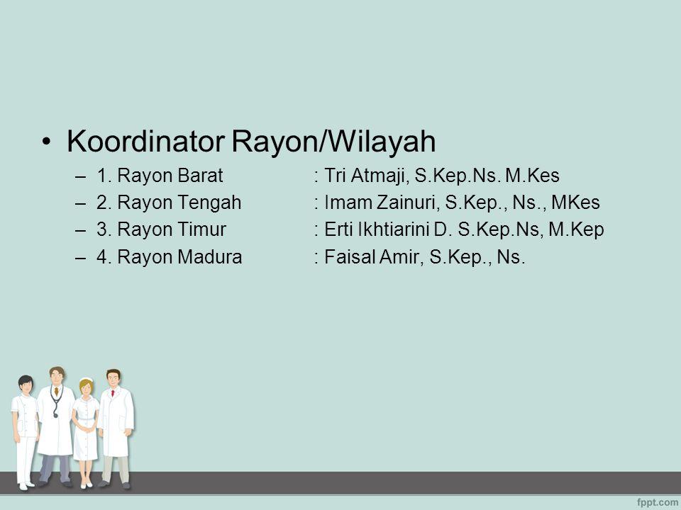 Koordinator Rayon/Wilayah –1. Rayon Barat : Tri Atmaji, S.Kep.Ns. M.Kes –2. Rayon Tengah: Imam Zainuri, S.Kep., Ns., MKes –3. Rayon Timur: Erti Ikhtia