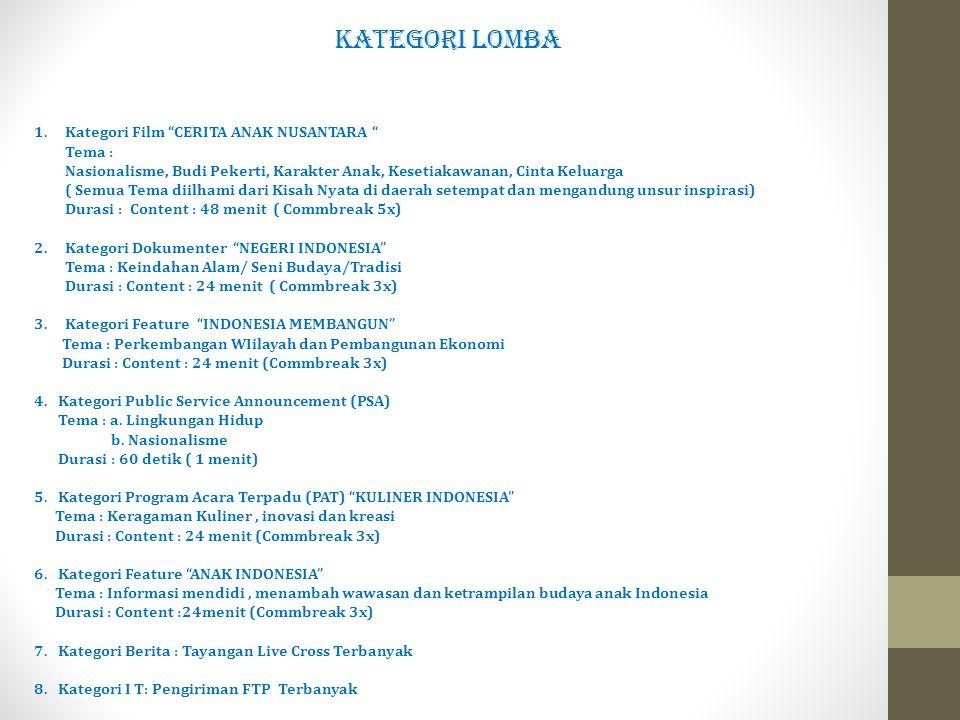 """KATEGORI LOMBA 1. Kategori Film """"CERITA ANAK NUSANTARA """" Tema : Nasionalisme, Budi Pekerti, Karakter Anak, Kesetiakawanan, Cinta Keluarga ( Semua Tema"""