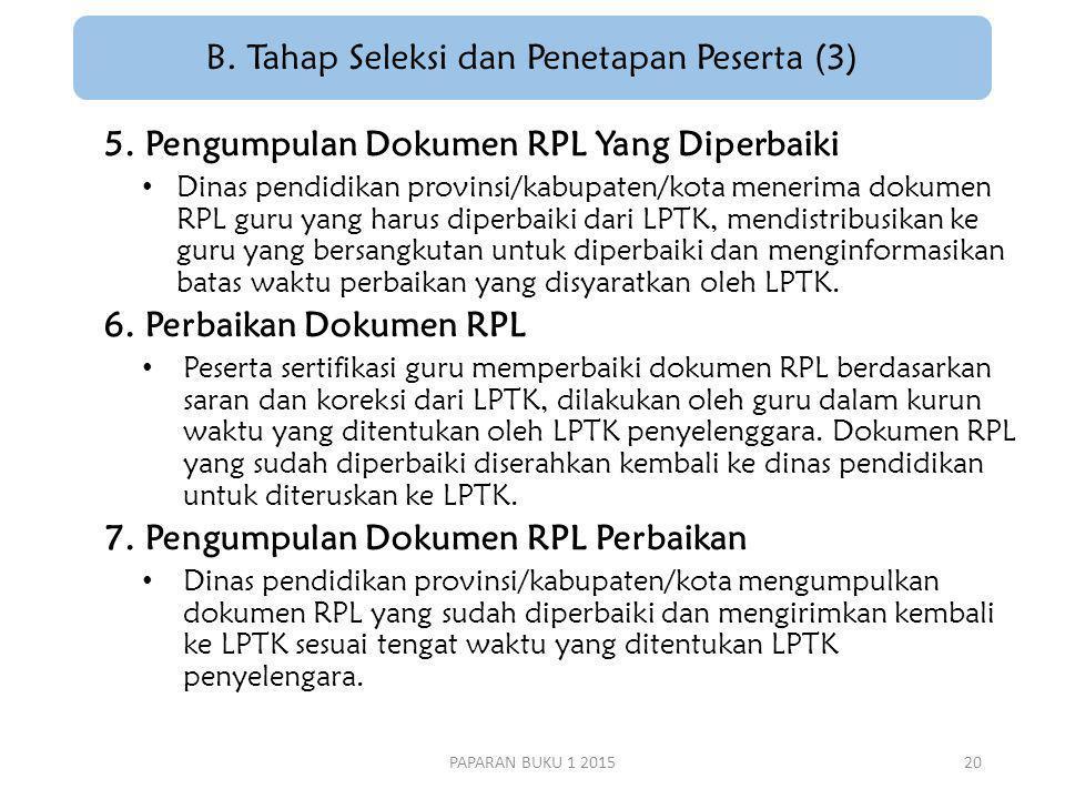 B.Tahap Seleksi dan Penetapan Peserta (3) 5.