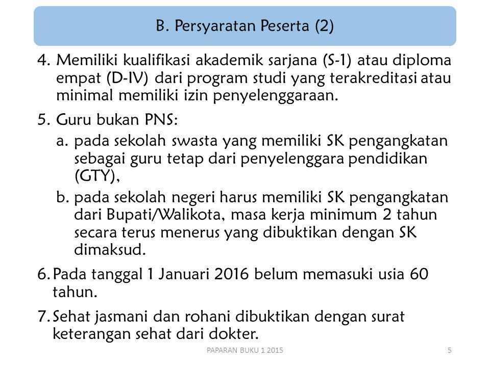 4.Memiliki kualifikasi akademik sarjana (S-1) atau diploma empat (D-IV) dari program studi yang terakreditasi atau minimal memiliki izin penyelenggaraan.