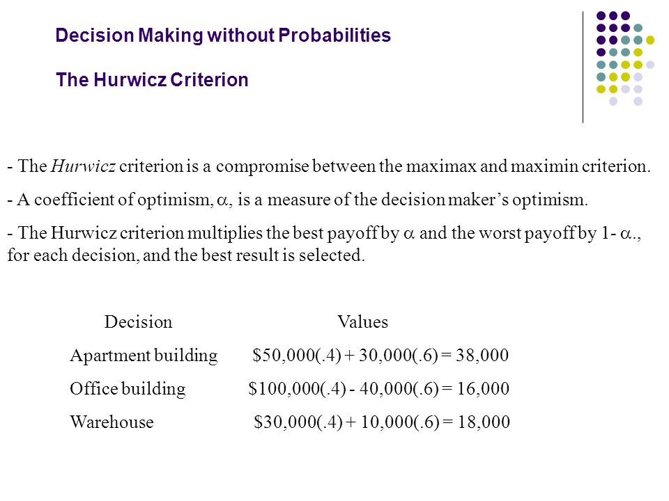 Decision Making without Probabilities The Hurwicz Criterion - The Hurwicz criterion is a compromise between the maximax and maximin criterion. - A coe